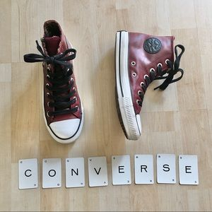 Genuine leather Converse All Stars high tops zip